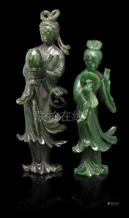 A pair of green hardstone figures of ladies 20th century (4)