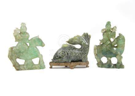 A soapstone carp and two hardstone musicians on horses 19th century (2)
