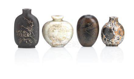 One 'pudding stone' and three other mineral snuff bottles Qing Dynasty (4)