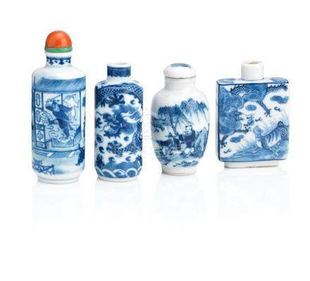 Four blue and white snuff bottles Qing Dynasty (6)