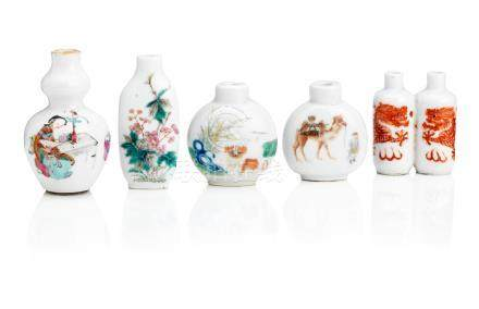 Two Daoguang-marked enamelled porcelain snuff bottles and three others Qing Dynasty (5)
