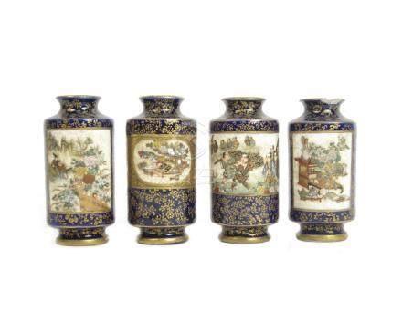 Four Satsuma miniature vases Meiji era (4)