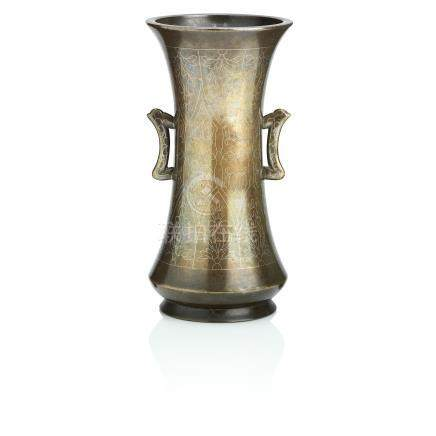 A silver-inlaid bronze vase Qing Dynasty
