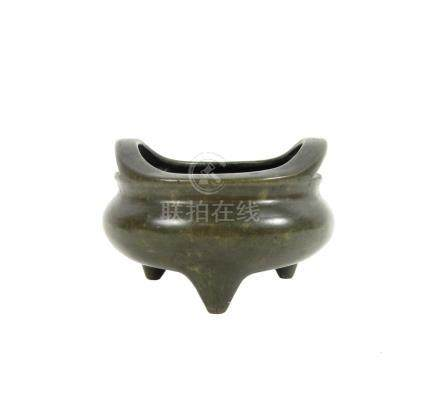 A bronze incense burner Xuande seal mark but later