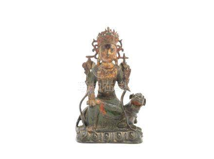 A parcel-gilt and painted bronze figure of a Bodhisattva Ming Dynasty