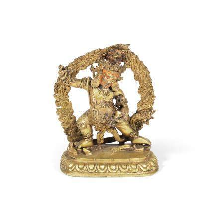 A gilt copper-alloy figure of Vajrapani Tibet, 19th century