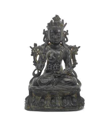 A bronze Bodhisattva together with a pair of bronze vases Yuan/Ming Dynasties (3)