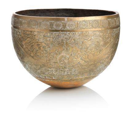 An engraved bronze bowl on wood stand Xuande six-character mark but 19th century (2)