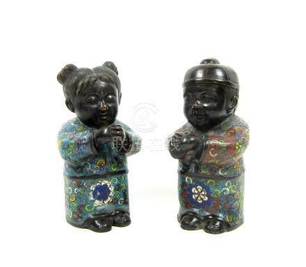 A pair of cloisonné enamel figures Circa 1900 (2)