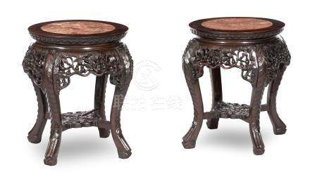 A pair of blackwood jardinière stands Qing Dynasty, late 19th century