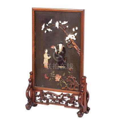 A bone and soapstone-inlaid screen on hardwood stand 19th century (2)