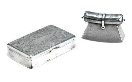 A silver snuff box together with a Japanese silver miniature 18th century and later (2)