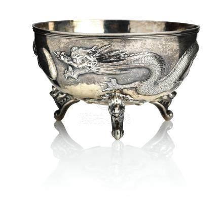 A silver bowl Kwong Man Shing, Canton Hong Kong, 1880-1920