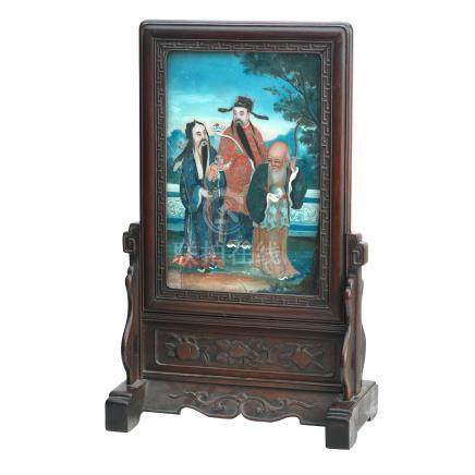 A reverse glass painting mounted as a table mirror on stand 19th century (2)