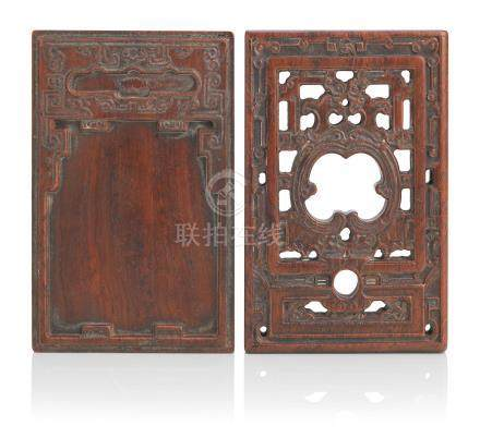 A huanghuali ink palette and cover 18th/19th century (2)