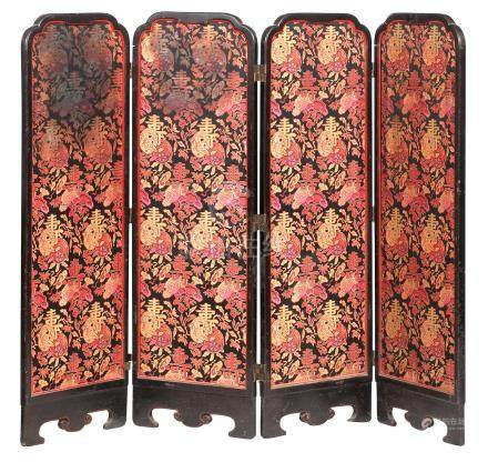 A four-fold dressing screen Early 20th century