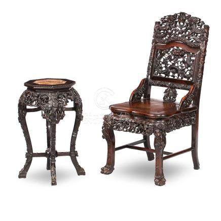 A blackwood side chair and a jardinière stand Qing dynasty, 19th century (2)