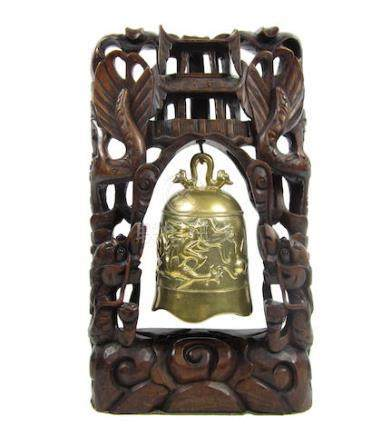 A bronze bell on carved wood stand 19th century (2)