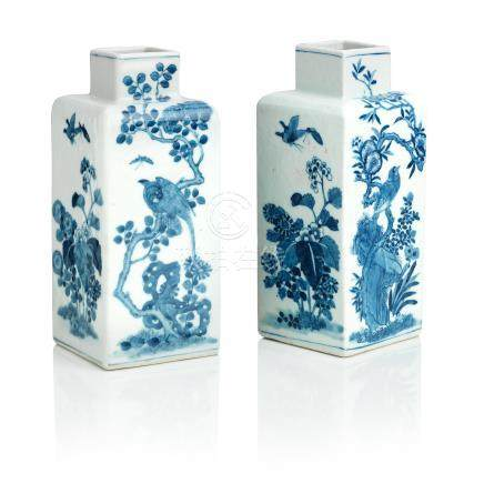 A mirrored pair of blue and white vases Bearing Kangxi six-character marks, but 19th century (2)