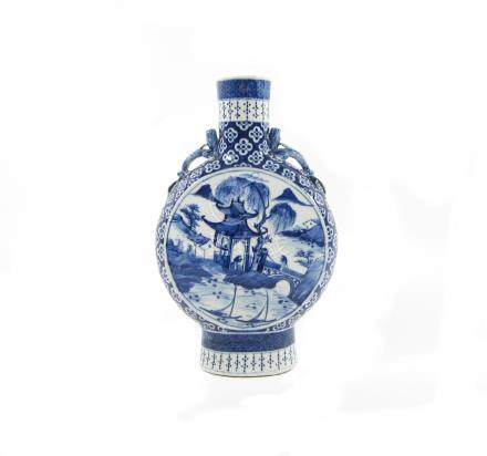 A blue and white moonflask 19th century