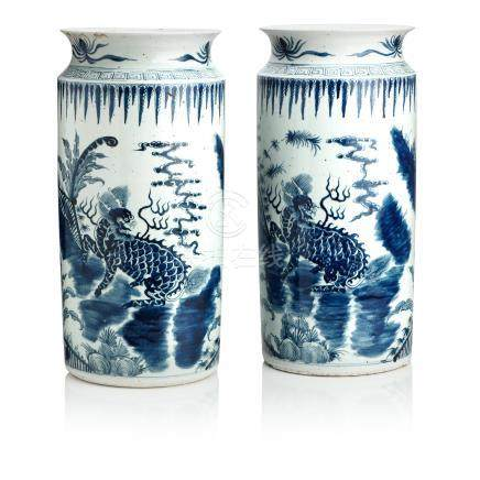 A pair of blue and white floor vases 19th century (4)