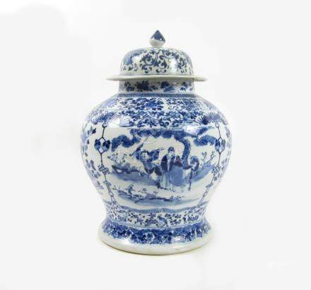 A blue and white baluster vase and matched cover Kangxi four-character mark but later (2)