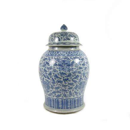A large blue and white jar and cover Late 19th century (2)