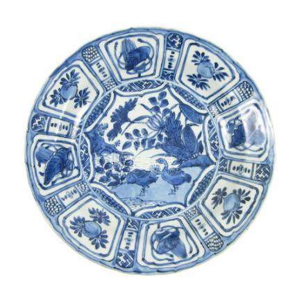 A 'Kraack porselein' saucer dish Late Ming Dynasty