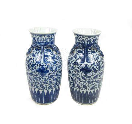 A pair of blue and white baluster vases 19th century (2)