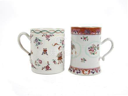 Two large famille rose tankards 18th century (2)