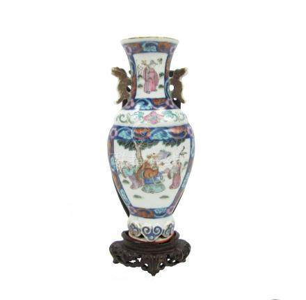 A famille rose wall-mounted half vase 19th century