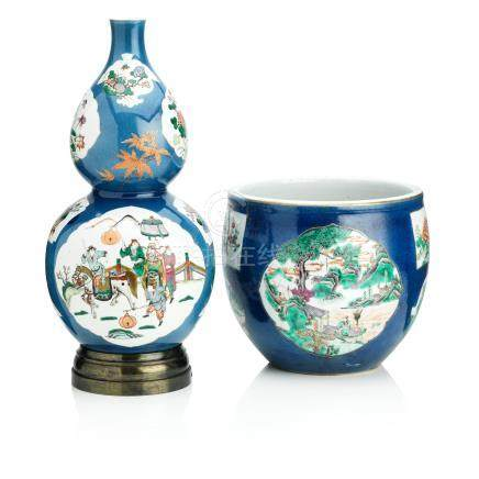A double gourd-shaped powder-blue vase and similar jardinière Kangxi four-character mark but 19th century (2)