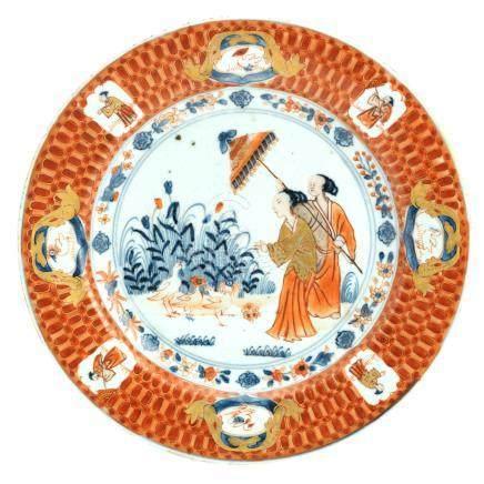 A 'Dame au Parasol' plate Qianlong