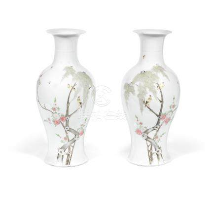 A pair of enamelled baluster vases 20th century (2)
