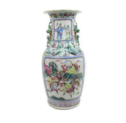 A Canton famille rose punch bowl and stand with a large famille rose vase 19th century (3)