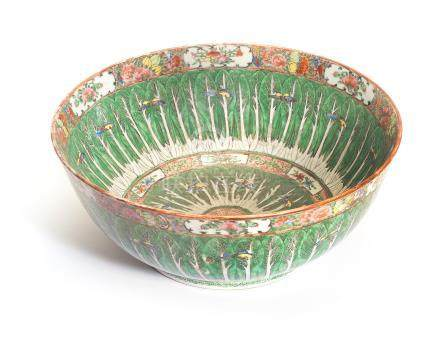 A Canton famille rose punch bowl  19th century