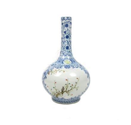 A famille rose and underglaze blue bottle vase Qianlong seal mark but 19th century