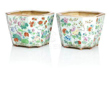 A pair of famille rose jardinières 19th century (2)