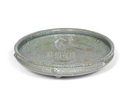 A crackle-glazed tripod incense burner Qing Dynasty