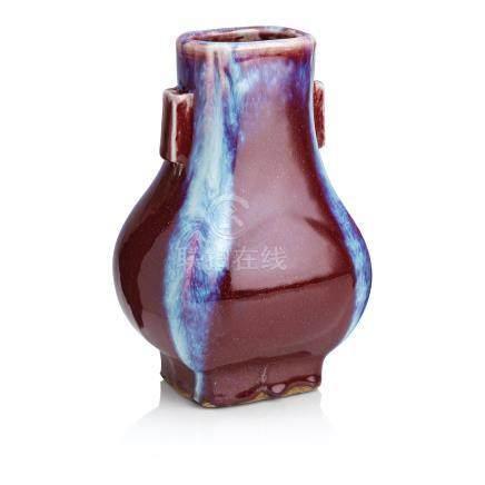A flambé vase, fang hu Yongzheng seal mark but later