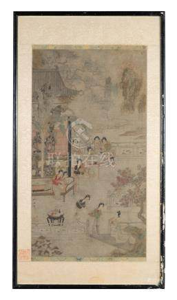 PAINTING OF COURT LADIES ATTRIBUTED TO QIU YING