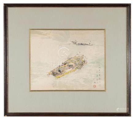 WATERCOLOR PAINTING OF BOAT, CHENG CHI (1912-2005)