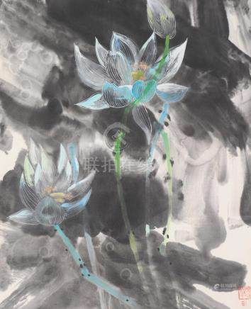 PAINTING OF LOTUS FLOWERS BY DING SHAOGUANG