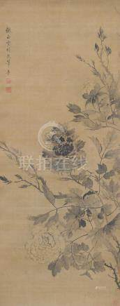 FLOWER PAINTING ON SILK ATTRIBUTED TO YUN SOUPING