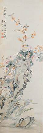 CHINESE SCROLL PAINTING OF FLOWERS, DUAN MANQING