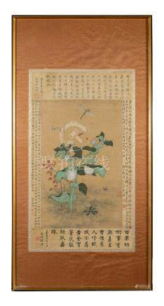 PAINTING OF FLOWERS & INSECTS, ATTRIBUTED AI XUAN