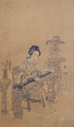 CHINESE PAINTING OF LADY W/ A GUQIN BY WU SHENG