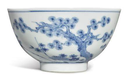 A FINE BLUE AND WHITE 'THREE FRIENDS OF WINTER'BOWLKANGXI MARK AND PERIOD
