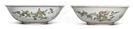AN EXTREMELY RARE PAIR OF POLYCHROME-ENAMELED 'DRAGON' BOWLSQING DYNASTY, KANGXI PERIOD