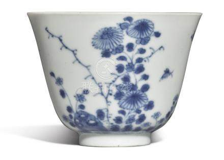A BLUE AND WHITE 'CHRYSANTHEMUM' 'MONTH' CUPKANGXI MARK AND PERIOD